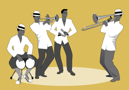 Latin band. Four Latin musicians playing bongos, trumpet, claves and trombone.
