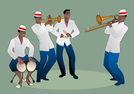 Latin band. Four Latin musicians playing bongos, trumpet, claves and trombone. Archivio Fotografico - 127497515
