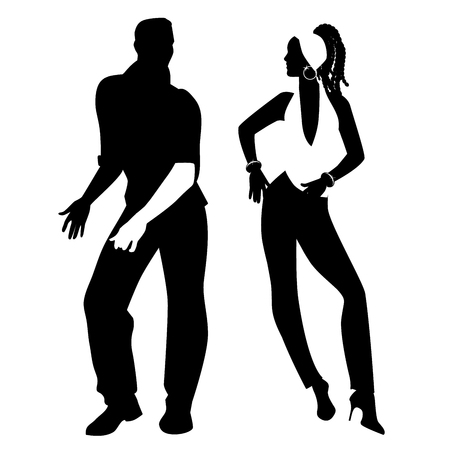 Salsa Party Time. Young couple dancing latin music: salsa, merengue, mambo, bachata Illustration