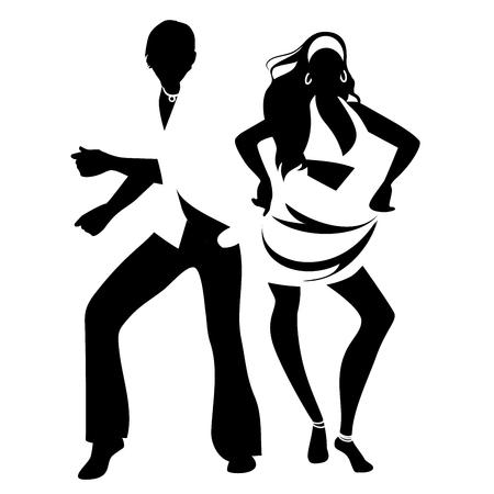 Salsa Party Time. Young couple dancing latin music: salsa, merengue, mambo, bachata Иллюстрация