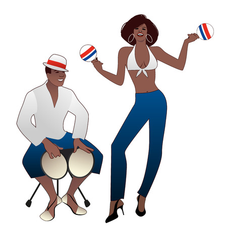 Salsa Party Time. Young man playing bongos and beautiful woman dancing and playing maracas