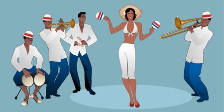 Hermosa bailarina tocando maracas y cuatro músicos latinos tocando bongos, trompeta, claves y trombón. Ilustración de vector