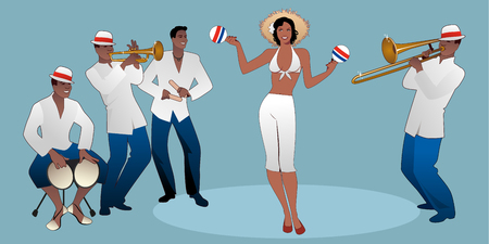 Piękna tancerka grająca na marakasach i czterech latynoskich muzyków grających na bongosach, trąbce, klawesach i puzonie. Ilustracje wektorowe