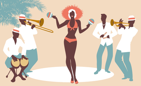 Beautiful dancer playing maracas and four latin musicians playing bongos, trumpet, claves and trombone.
