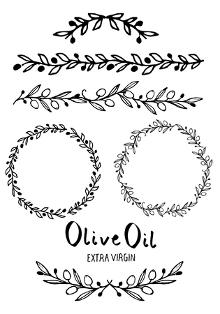 Collection of hand-drawn design elements, for brands, labels and corporate images: Circular wreaths, frames, dividers and strokes made with olive branches and handwritten text