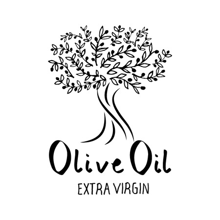 Olive tree hand drawn and handwritten text, isolated on white background