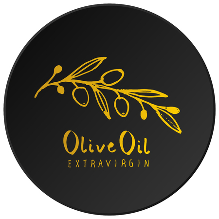 Olive branch with olive leaves hand drawn and handwritten text, golden on black background Иллюстрация