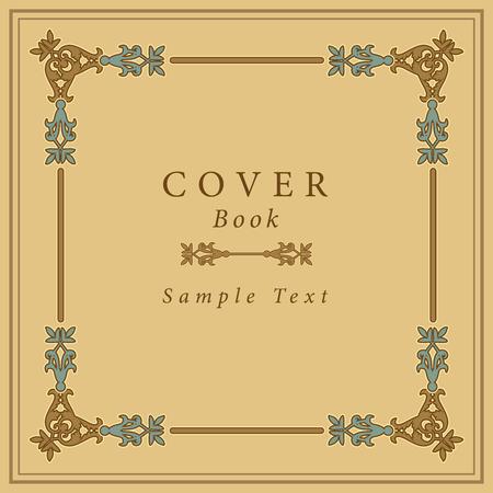Book cover with retro ornamental gold frame. Vector Illustration Иллюстрация