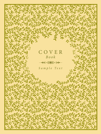 Cover book decorated with hand-drawn olive branches pattern and label with sample text and handmade text divider.