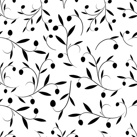 Seamless pattern of olive branches. Vector Illustration
