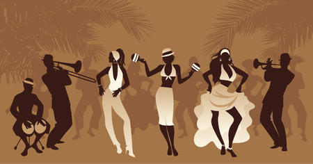 Salsa Party Time. Group of three girls dancing latin music and three musician playing bongos, trumpet and trombone. People and palm trees on the background Иллюстрация