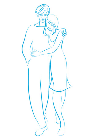 Young couple walking embracing. Sketch to line drawn by hand, isolated on white background.