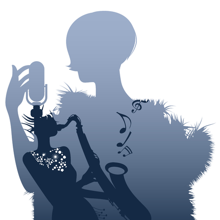 Silhouette of woman singer and woman playing the saxophone inside. Retro style.