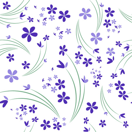 Seamless pattern of wild violets on white background