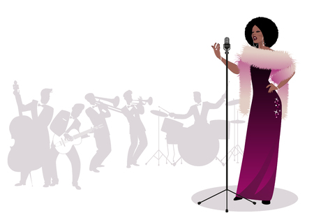 Beautiful and elegant jazz singer singing solo. Male orchestra in the background. Retro style. Illustration