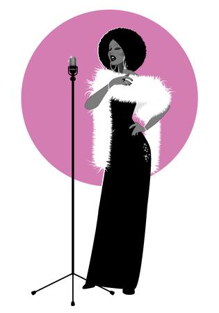Beautiful and elegant jazz singer isolated on white and pink background Illustration