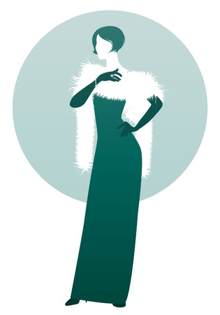 Elegant lady silhouette, wearing long evening dress, stole and gloves, isolated on white and green background. Retro style.