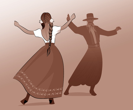 Gaucho with mustache and hat and woman with braids dancing typical dance of South America Illustration