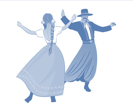 Gaucho with mustache and hat and woman with braids dancing typical dance of South America, isolated on white background Иллюстрация