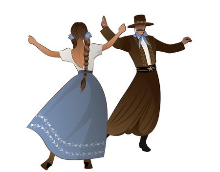 Gaucho mit Schnurrbart und Hut und Frau mit Zöpfen tanzen typischen Tanz Südamerikas, isoliert auf weißem Hintergrund on Vektorgrafik