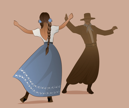 Gaucho with mustache and hat and woman with braids dancing typical dance of South America Иллюстрация