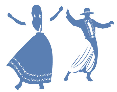 Silhouettes of gaucho and woman with braids dancing typical dance of South America, isolated on white background