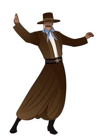 Gaucho z wąsami i kapeluszem tańczy typowy taniec Ameryki Południowej, izolowana na białym tle