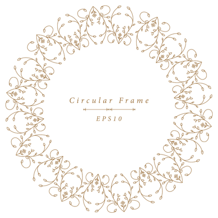 Ornamental antique frame in circular shape isolated on white background