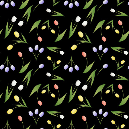 Seamless pattern of tulip flowers and leaves on black background Иллюстрация