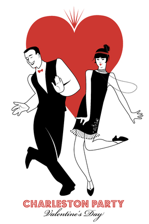 Charleston Party Valentines Day Dance. Couple wearing retro clothes dancing Charleston. Big heart isolated on white background. Иллюстрация