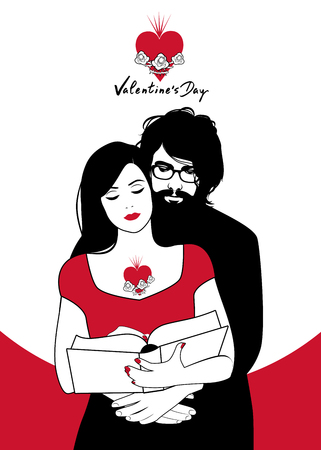 Valentines Day. Couple reading hugged. Girl with heart tattoo and young man with beard and glasses reading a book together. Иллюстрация