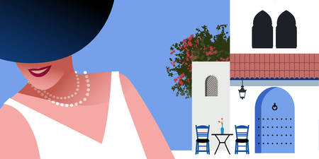 Woman with blue hat and pearls necklace, on background of typical morocco style mediterranean village. Blue door under a roof, Moorish windows, chairs and a small table with vase. Bougainvillea on blue background.