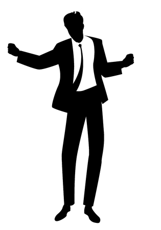 Silhouette of man dancing new wave music wearing clothes in the style of the 80s isolated on white background