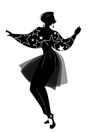 Silhouette of woman dancing new wave music wearing clothes in the style of the 80s isolated on white background Ilustração