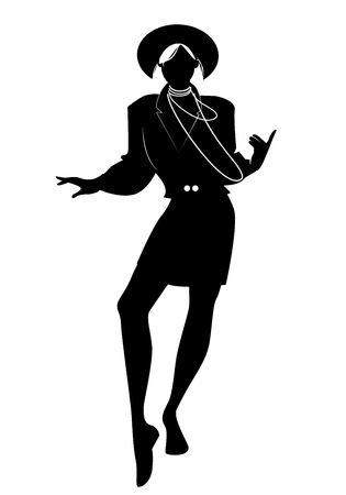 Silhouette of woman dancing new wave music wearing clothes in the style of the 80s isolated on white background Иллюстрация