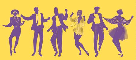Sylwetki ludzi tańczących muzykę nowej fali w strojach w stylu lat 80.