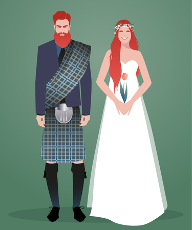Young couple of newlyweds wearing wedding clothes. Scottish style. Stylish bearded and redhead groom wearing traditional Scottish clothes and beautiful long-haired redhead bride holding a tulip Ilustração