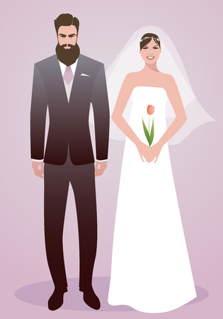Young couple of newlyweds wearing wedding clothes. Stylish bearded groom and beautiful bride with veil holding a tulip