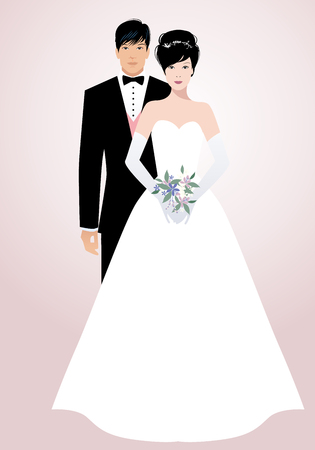 Young oriental couple of newlyweds wearing wedding clothes. Elegant groom with suit and bow tie and beautiful bride holding a bouquet of flowers