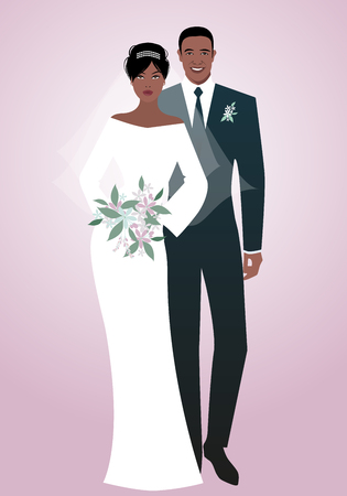 Young afro couple of newlyweds wearing wedding clothes. Elegant groom with suit and tie and beautiful bride with veil holding a bouquet of flowers