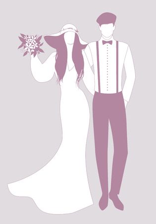 Silhouettes of newlyweds couple wearing wedding clothes. Wide-brimmed hat for her and beret, suspenders and bow tie for him. Иллюстрация