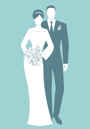 Silhouettes of newlyweds couple wearing wedding clothes. Classic Style. Elegant groom and beautiful bride holding bridal bouquet.