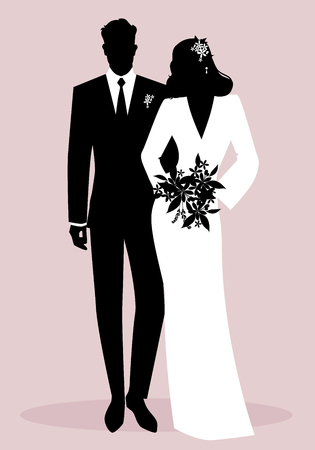 Sagome di sposini che indossano abiti da sposa. Stile classico. Sposo elegante e bella sposa che tengono il mazzo nuziale.