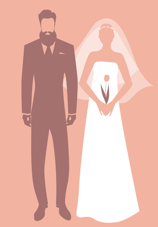 Silhouettes of newlyweds couple wearing wedding clothes. Stylish bearded groom and beautiful bride with veil holding a tulip