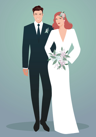 Young couple of newlyweds wearing wedding clothes. Retro Style. Elegant groom and beautiful red haired bride holding bridal bouquet.