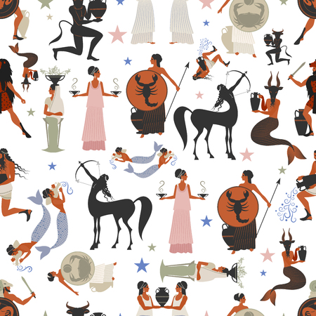 Seamless pattern of zodiac signs in the style of ancient Greece Illustration