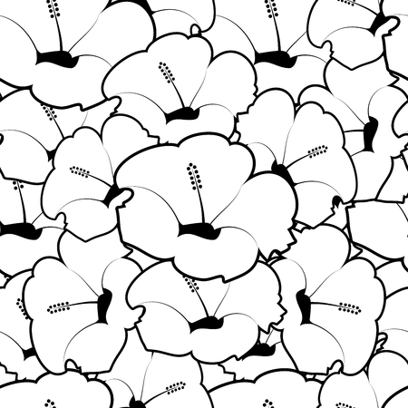 Seamless pattern of hibiscus flowers. Floral background. Vector Illustration
