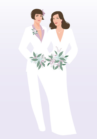 Queer Wedding. Couple of newly married lesbian brides. Beautiful women wearing elegant suit, wedding dress and bouquets of flowers. LGBTQ Rights
