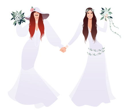 Queer Wedding. Couple of newly married lesbian brides. Beautiful women wearing hippy or boho chic style bridal gowns. LGBTQ Rights.