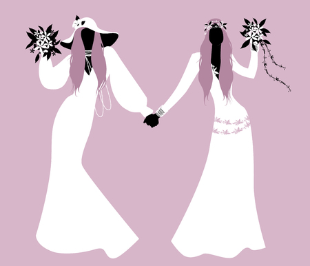 Queer Wedding. Couple of newly married lesbian brides silhouettes. Two women wearing hippy or boho chic style bridal gowns. LGBTQ Rights.